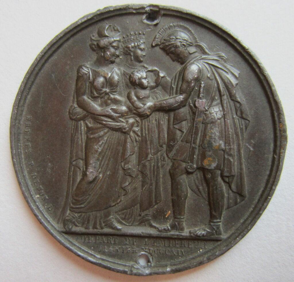 Médaillon évoquant le départ de Napoléon.